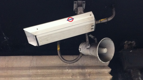 Camera and Speaker near the entrance to Holborn tube station, London